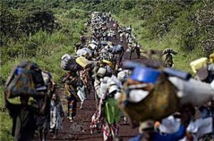 Congolese Refugees Fleeing Ntaganda's Massacre in Kiwanja